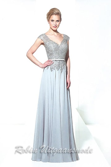 Chic flary evening dress with cap sleeves and beaded bodice, available in four colours | modelnr g-u2-101