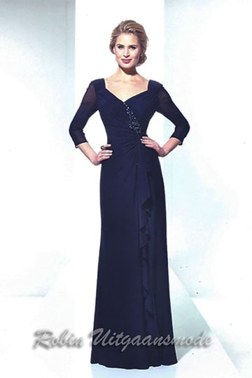Elegant evening dress with a long sleeve in dark blue or gray | modelnr g-u2-107