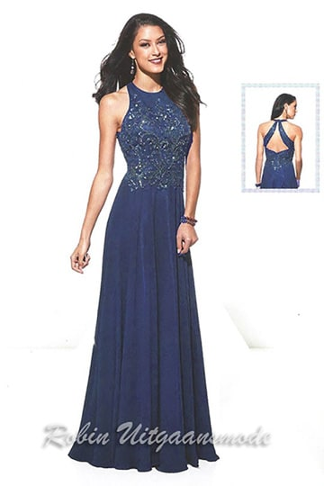 High-necked evening dresses with beaded bodice and peep-hole back in navy blue | modelnr g-u2-108