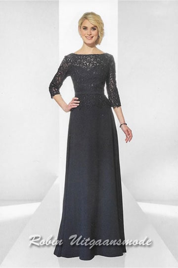 Dark blue evening dress features an overlay lace bodice, high neck line and long lace sleeves | modelnr g-u2-11