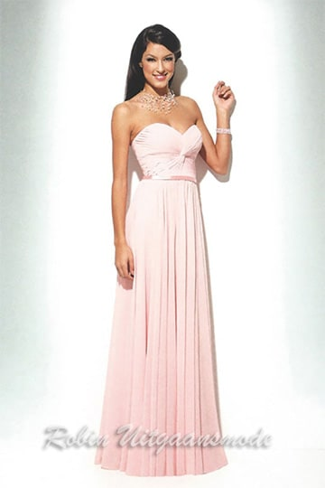 Strapless pink evening gown feature sweetheart draped and twirled bodice with lovely waistband and long skirt | modelnr g-u2-112