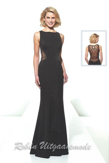 Stylish black evening dresses with a stunning illusion low back and a high neck line | modelnr g-u2-113