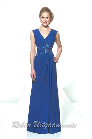 Elegant blue evening gown features a draped waist with beaded applique over the bodice and wide shoulder straps | modelnr g-u2-116