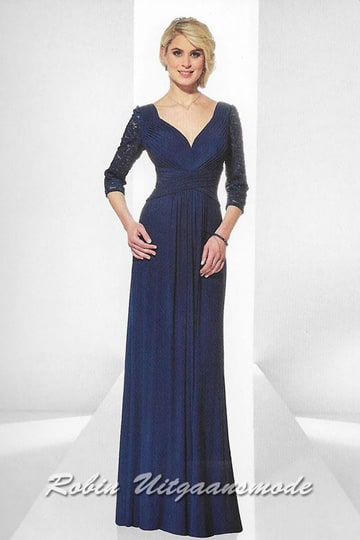 Elegant hour-glass shape evening dress features long lace sleeves, a V-neck draped bodice and waist | modelnr g-u2-12