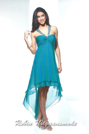 Blue green high-low prom dress with shoulder straps running from the middle of the top | modelnr g-u2-123