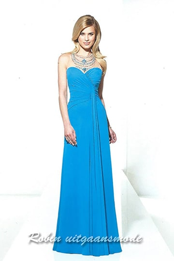 Cheap blue party dress with a sweetheart strapless draped bodice | modelnr g-u2-139