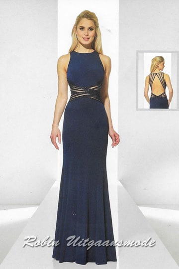 Elegant evening dress in black and blue, the bodice is featured with a high neckline and a modern open back | modelnr g-u2-14