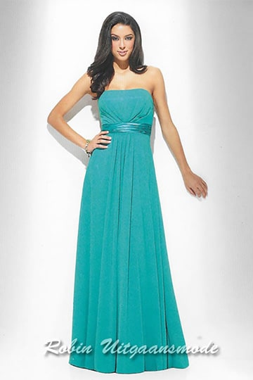 Cheap evening dress with straight strapless top and waistband | modelnr g-u2-156