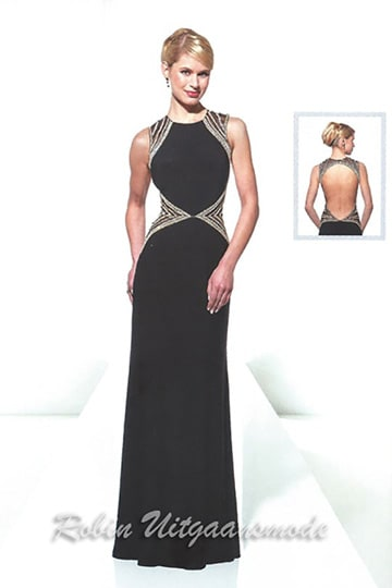 Exclusive black evening dress with silver beaded bands over the shoulder and waist | modelnr g-u2-16