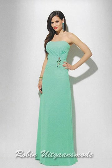 Cheap strapless prom dress with draped and beaded wide waistband | modelnr g-u2-161