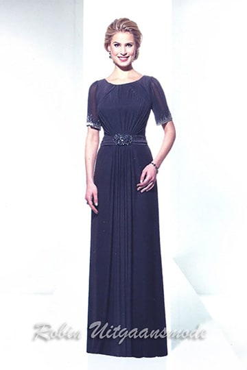 Stylish high-neck evening dress with half long sleeves in dark blue | modelnr g-u2-164