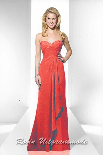 Hip red strapless prom dress features a sweetheart bodice and draped waistline | modelnr g-u2-169
