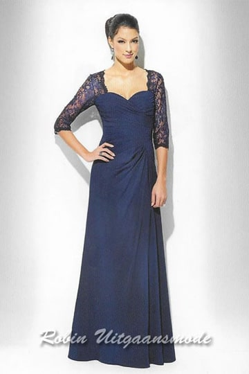 Stylish dark blue evening dress with half long lace sleeves. | modelnr g-u2-170