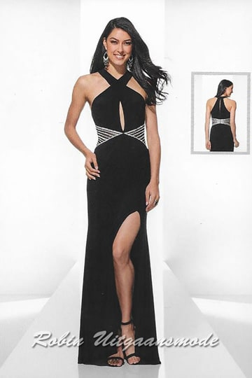 Charming black evening dress with a slit, cross halter closure, keyhole opening and silver sequins at the waist. | modelnr g-u2-183