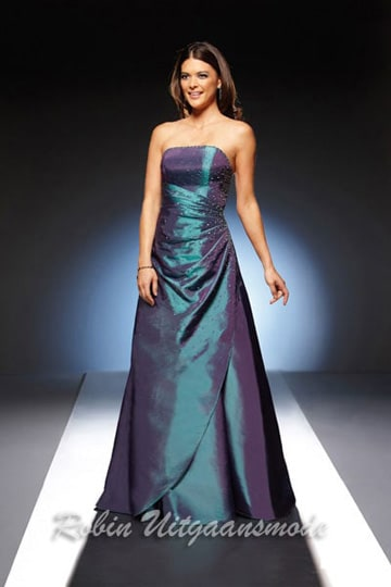 Stylish strapless evening dress with beaded small stones, available petrol and Bordeaux red | modelnr g-u2-21