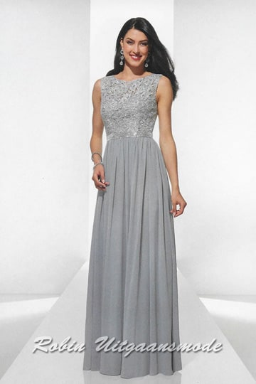 Silver coloured evening dresses with embroidered lace bodice and elegant waist band. | modelnr g-u2-4