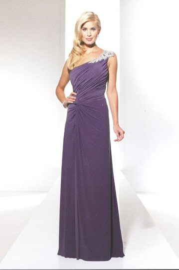 Chic embroidered and beaded one-shoulder evening dress with draped bodice and slit | modelnr g-u2-52