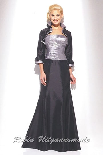 Evening dress with black skirt, silver coloured bodice and dark grey bolero jacket with three quarter sleeves | modelnr g-u2-61