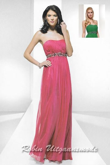 Long flared evening dress with strapless top, only in green | modelnr g-u2-82