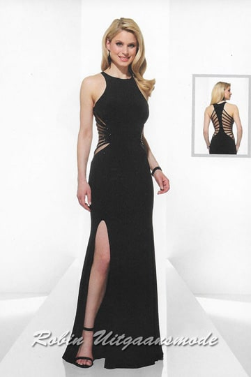 Attractive long black evening dress with a high slit, the bodice features a high neckline and transparent open back with narrow straps | modelnr g-u2-9