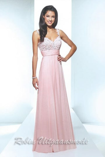 Charming evening dress in pink with V-neck and beautifully beaded bodice | modelnr g-u2-98