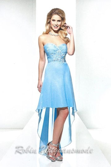 High-low party dress in blue features a beaded and embroidered strapless bodice | modelnr g-u3-15