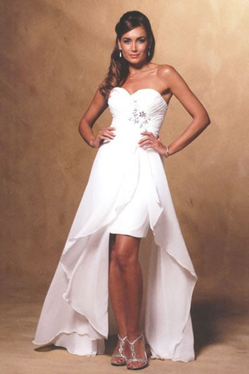 Short prom dress features draped sweetheart bodice with beaded application and a long overlay skirt | modelnr g-u3-7