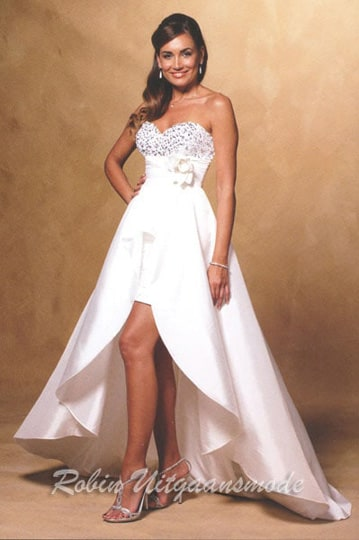 Ivory white short prom dresses with detachable long skirt and a shimmering strapless top | modelnr g-u3-8
