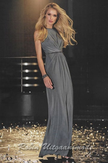 Dark grey tricot prom dress with a high neckline, the narrow waistband nicely accentuates your figure | modelnr g-ul2-38