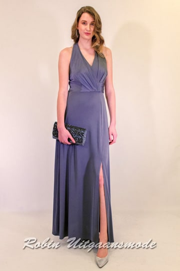 Gray-blue evening dress with a long skirt and high slit, the cross draped bodice features a halter closure | modelnr g-ul2-39