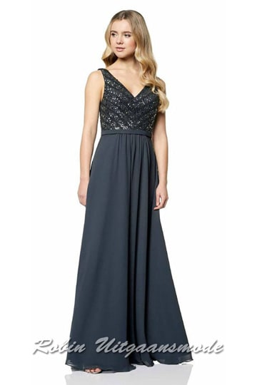 Fashionable prom dress with a V-neckline bodice decorated with sequins, wide shoulder straps, back décolleté and a long skirt | modelnr g-ul2-48