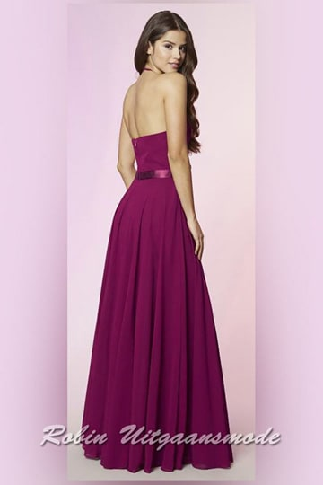 Halter prom dress with a small straps, a half-open back, waistband and flary skirt till the floor | modelnr g-ul2-49