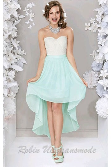 Hip high-low party dress with white sweetheart strapless bodice and mint green skirt | modelnr g-ul2-5