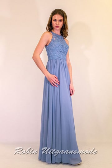 Lavender blue prom dress with a high neckline, the lace bodice is beautifully decorated and runs into a flary long skirt | modelnr g-ul2-50