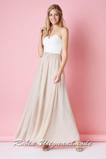 Strapless prom dress with heart shape bodice, beautifully finished waistband and long chiffon skirt till the floor | modelnr g-ul2-54