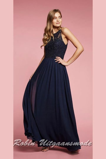 Blue prom dress with heart-shaped bodice is covered with lace, a high closed boat neckline and long skirt with a soft tulle top layer | modelnr g-ul2-72