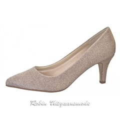 Metallic pump met lage hak, in goud-zilver